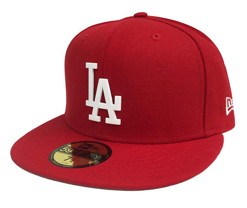 Los Angeles Dodgers Fitted New Era 59Fifty Metal White Badge Red Cap Hat