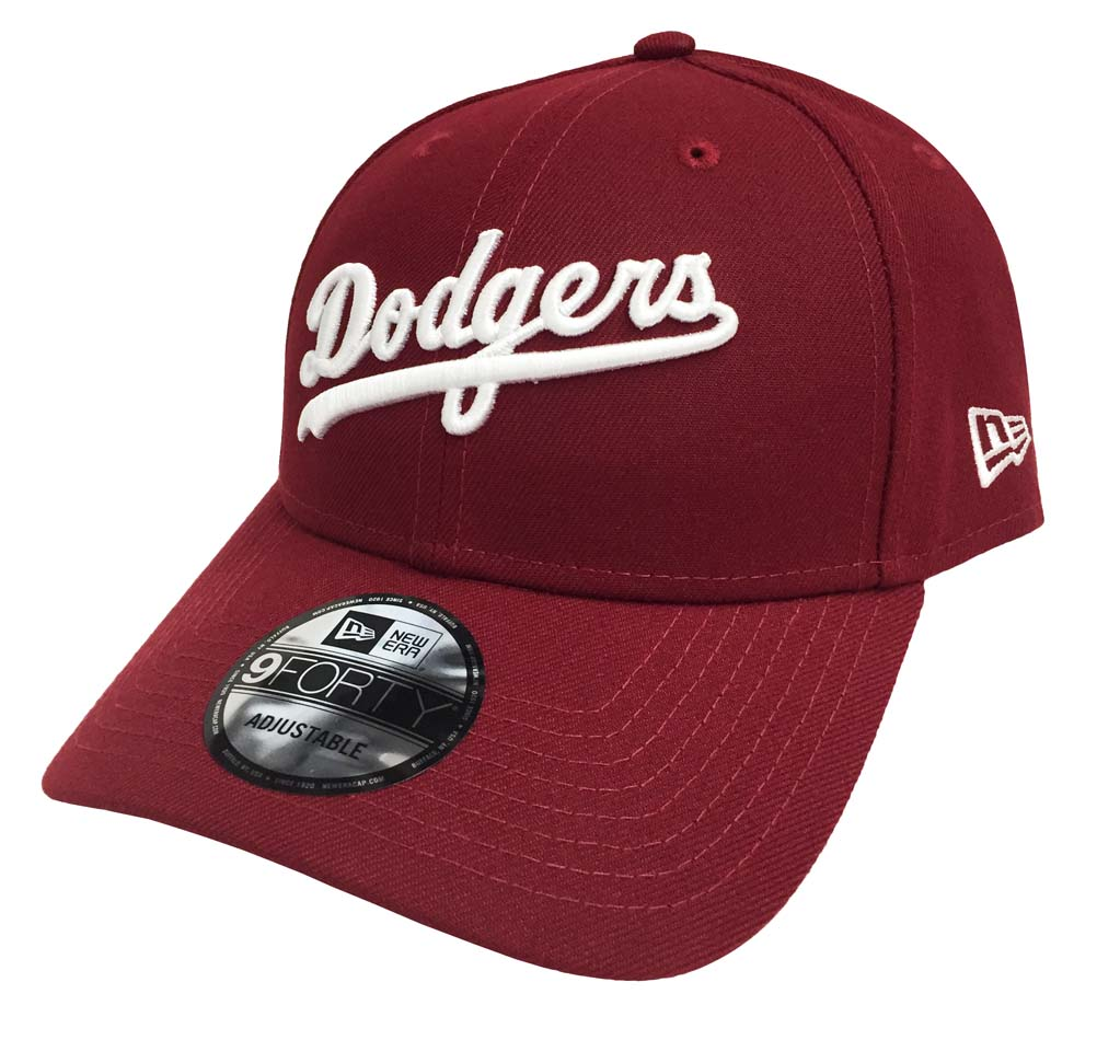 034a0d05b40106 Los Angeles Dodgers Velcro Adjustable New Era 9Forty Wordmark Cap Hat  Burgundy