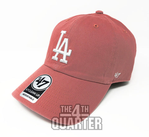 Los Angeles Dodgers Strapback '47 Brand Clean Up Adjustable Cap Hat Salmon