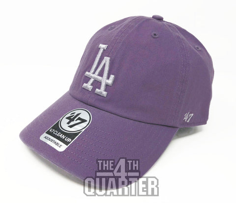 Los Angeles Dodgers Strapback '47 Brand Clean Up Adjustable Cap Hat Pastel Purple