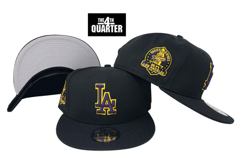 Dodgers X Lakers Snapback New Era 9Fifty 60th Anniversary Patch Hat Cap Black Grey UV