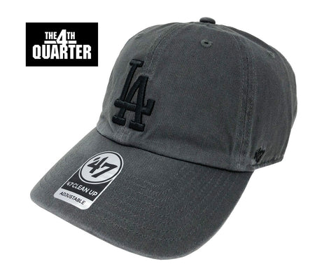Los Angeles Dodgers Strapback '47 Brand Clean Up Adjustable Black Logo Charcoal Cap Hat