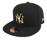 New York Yankees Snapback New Era 9Fifty Gold Metal Logo Black