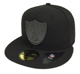 Oakland Raiders Fitted New Era 59Fifty Sleeked Finish Black on Black Cap Hat