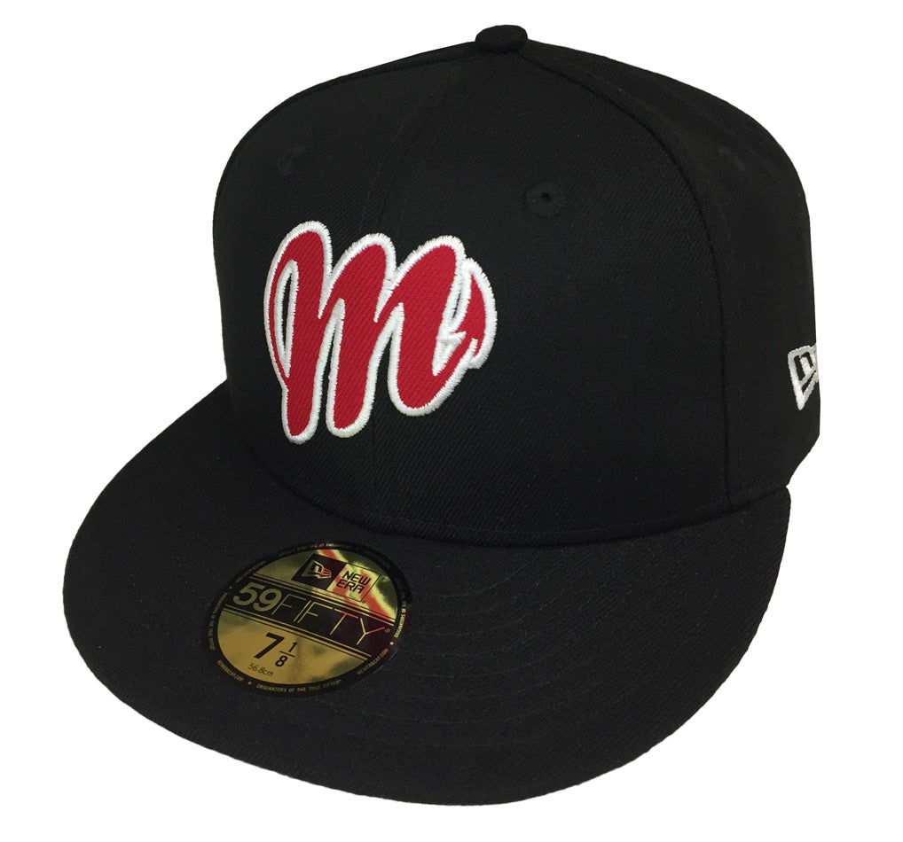 Diablos Rojos Del Mexico Fitted Mexican Baseball League New Era 59Fifty Cap  Hat Black 59b505347d3