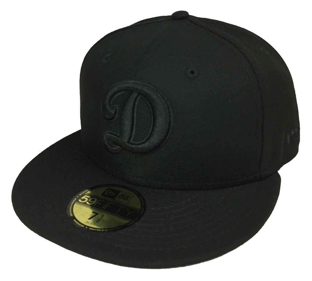 e9a4bcb1 Los Angeles Dodgers Fitted New Era 59Fifty Big D Logo Cap Hat Black on Black