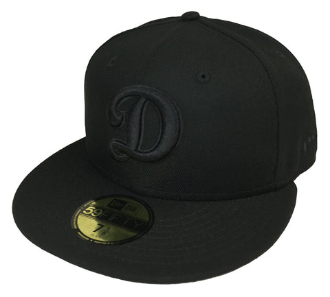 Los Angeles Dodgers Fitted Big D New Era 59FIFTY Cap Hat Black on Black