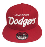 Los Angeles Dodgers Snapback New Era White Script Red Cap Hat