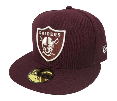 Oakland Raiders Fitted New Era 59Fifty Maroon White Logo Cap Hat