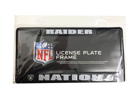 Oakland Raiders Chrome Auto Licensed Plate Frame Raider Nation Black
