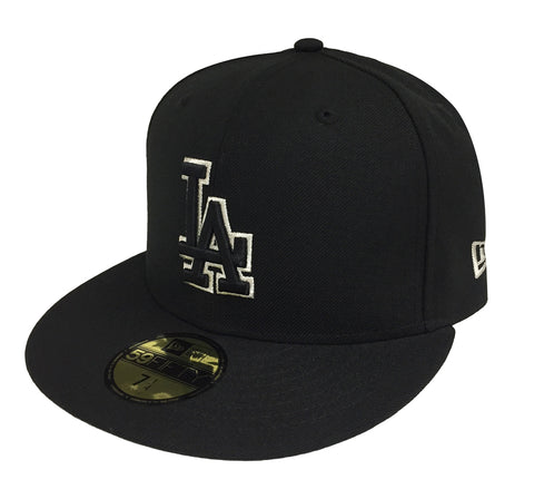 best website 99a12 34a2c Los Angeles Dodgers Fitted New Era 59Fifty Black Logo Metallic Outline Cap  Hat