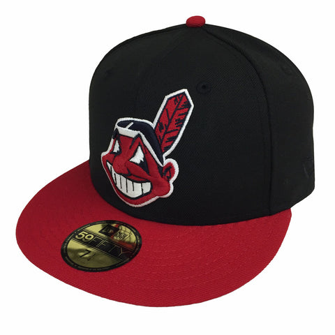 Cleveland Indians Fitted New Era 59Fifty XL Logo Black Red Cap Hat