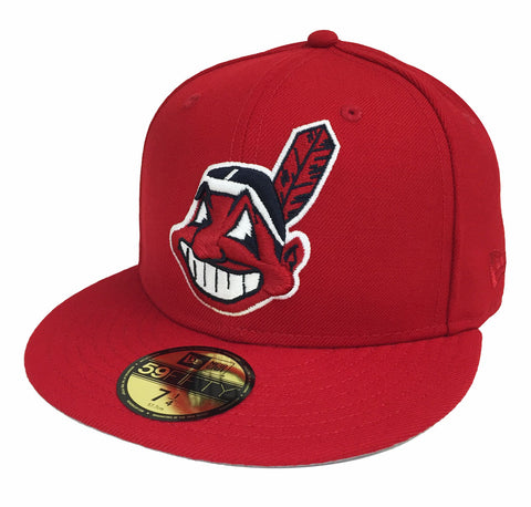 Cleveland Indians Fitted New Era 59Fifty XL Logo Red Cap Hat