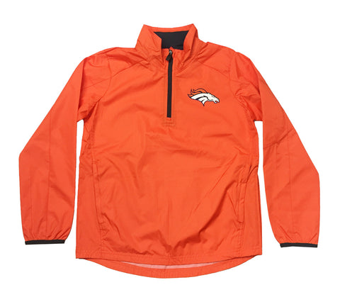 Denver Broncos Youth NFL Quarter Zip Windbreaker Jacket Orange