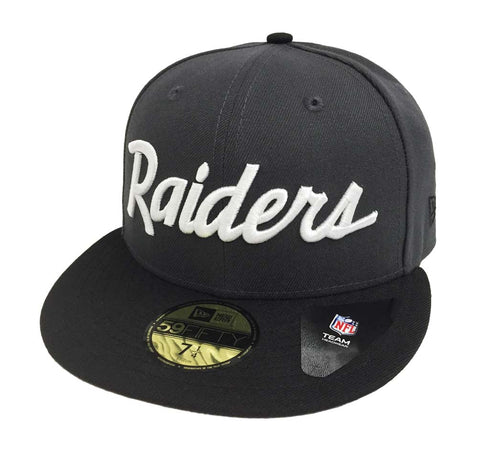 Oakland Raiders Fitted New Era 59Fifty Team Script Charcoal Black Cap Hat
