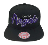 "Los Angeles Lakers Snapback Mitchell & Ness ""City of Angels"" Cap Hat Black"