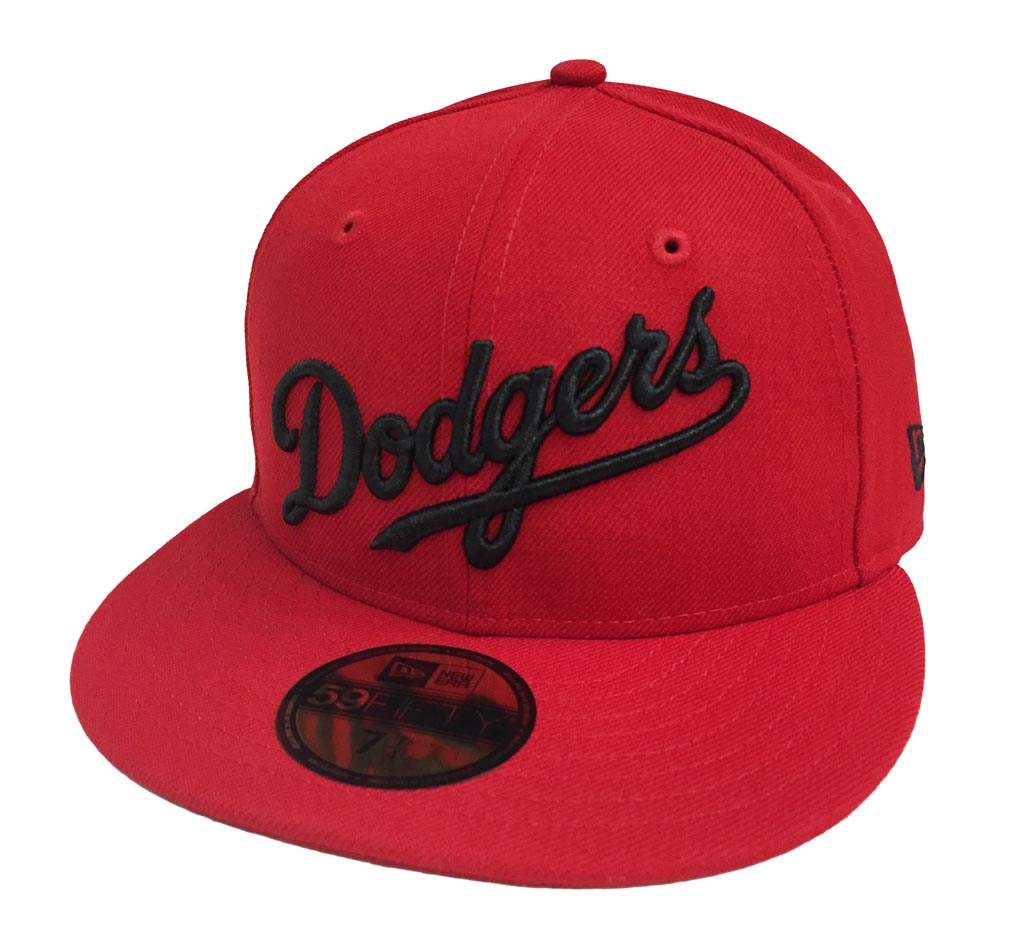 Los Angeles Dodgers Fitted New Era 59FIFTY Wordmark Script Red Cap ... 4fe521587832