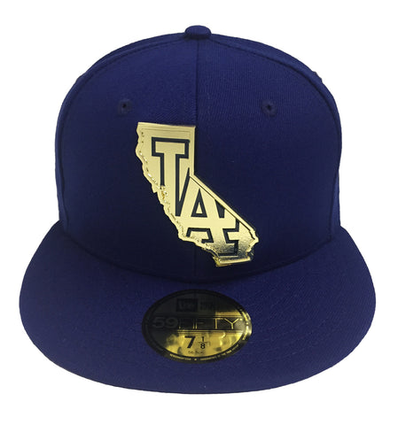 Los Angeles Dodgers Fitted New Era 59Fifty Gold Stated Metal Emblem Blue