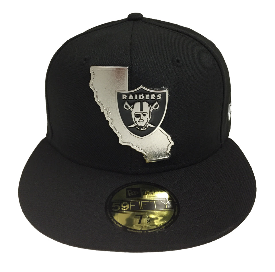 deee5731d32 Oakland Raiders Fitted New Era 59Fifty Gold Stated Metal Emblem Black