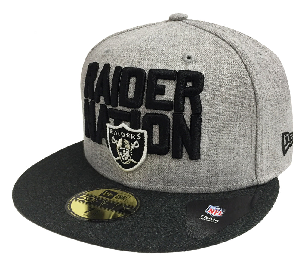 Oakland Raiders Fitted New Era 59Fifty Heather Gray Charcoal 2018 Draf –  THE 4TH QUARTER fca4b6e76dd