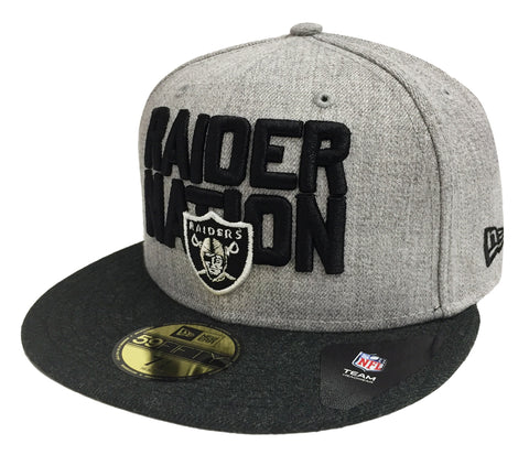 Oakland Raiders Fitted New Era 59Fifty Heather Gray Charcoal 2018 Draft Hat  Cap 77e79f763