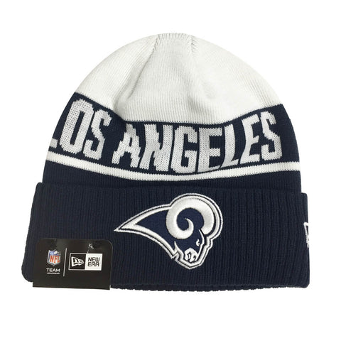 Los Angeles Rams Beanie New Era Knit White Navy