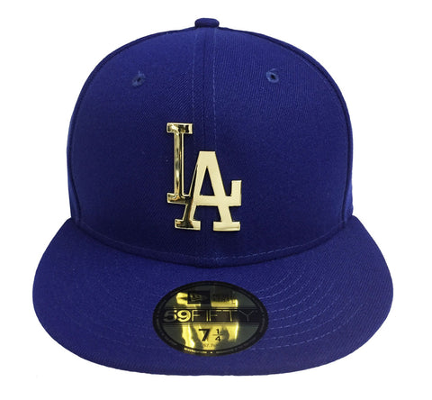 Los Angeles Dodgers Fitted New Era 59Fifty Goldent Front Hat Cap Blue