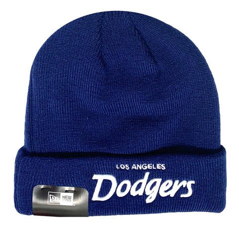 Los Angeles Dodgers Beanie New Era Script Knit Fold Blue & White