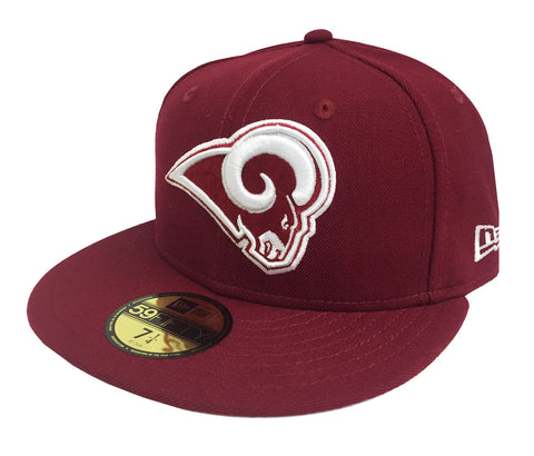 a935f8194 Los Angeles Rams Fitted New Era 59Fifty Logo Burgundy Hat Cap