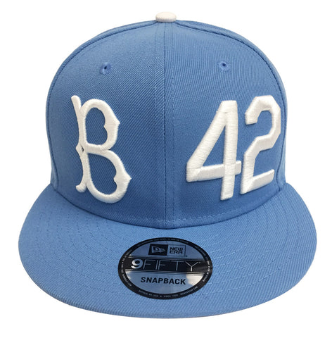 watch 8bc06 a37ec Brooklyn Dodgers Snapback New Era 9Fifty Jackie Robinson B 42 Sky Blue Cap  Hat
