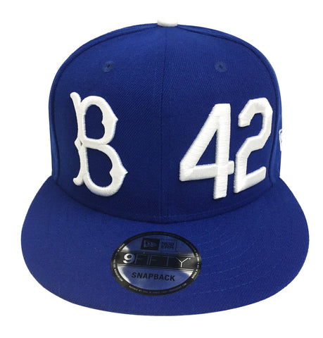 the latest 479ad a4ffd Brooklyn Dodgers Snapback New Era 9Fifty Jackie Robinson B 42 Blue Cap Hat