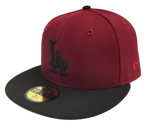 Los Angeles Dodgers Fitted New Era 59Fifty Burgundy Black Cap Hat GREY UV