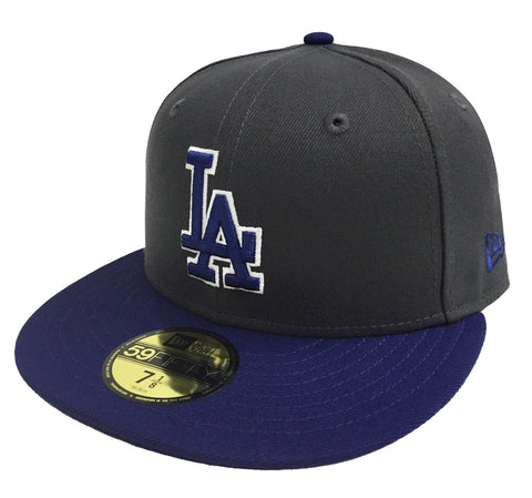 Los Angeles Dodgers Fitted New Era 59Fifty Blue Logo WO Charcoal Blue Cap Hat
