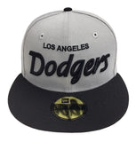 Los Angeles Dodgers Fitted New Era 59FIFTY Script Grey Black Cap Hat