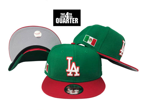 Dodgers Snapback 9Fifty New Era Mexico Patch Green Red Cap Hat Grey UV