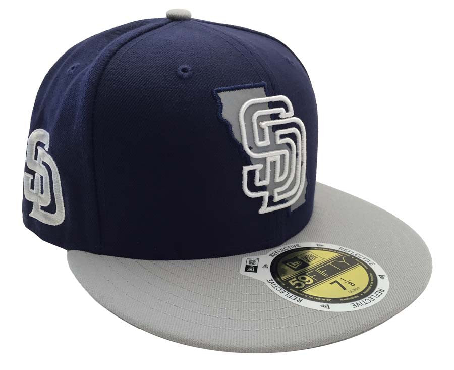 newest d22f0 62138 San Diego Padres Fitted New Era 59FIFTY State Flect Navy Grey Cap Hat – THE  4TH QUARTER