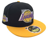 Los Angeles Lakers Fitted New Era 59Fifty State Flec Black Yellow Cap Hat