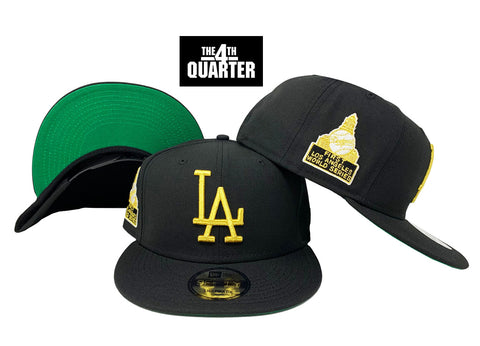 Los Angeles Dodgers Snapback New Era 9FIFTY First World Series Patch Black Cap Hat Green UV