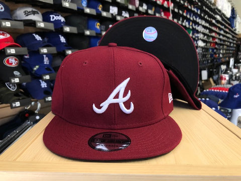 Atlanta Braves Snapback New Era 9Fifty Burgundy Cap Hat
