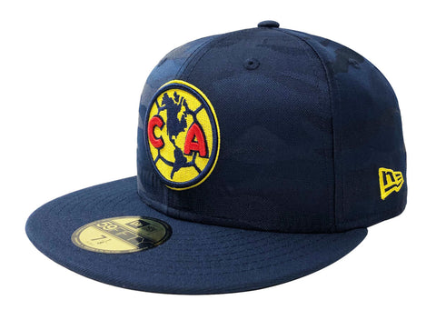 Club America Fitted New Era 59Fifty Camo Blue Cap Hat