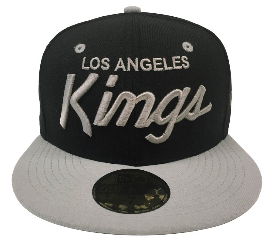 brand new ef84a 6c22b Los Angeles Kings Fitted New Era 59Fifty Charcoal Script Black Grey Cap Hat  Size 7