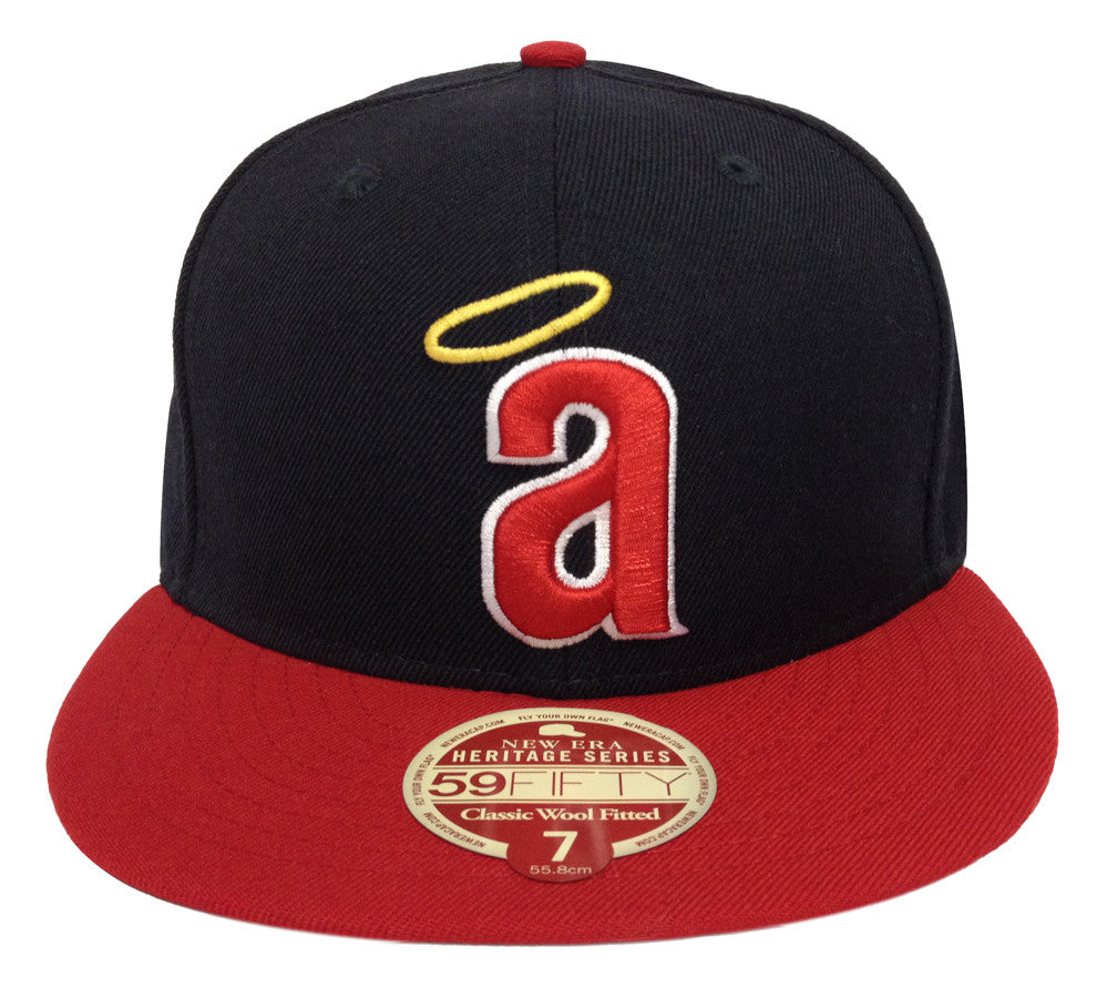 c068f5e80d2 Anaheim Angels Fitted New Era 59FIFTY Heritage Classic Wool Navy Red Cap Hat