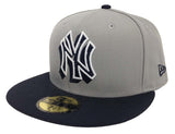 New York Yankees Fitted New Era 59FIFTY Neon Logo Pop Grey Navy Cap Hat
