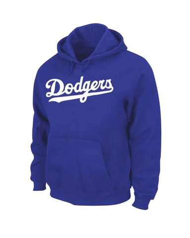 Los Angeles Dodgers Mens Sweatshirt Majestic Wordmark Pullover Hoodie Blue