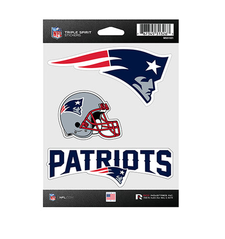 New England Patriots Sticker Triple Spirit Pack