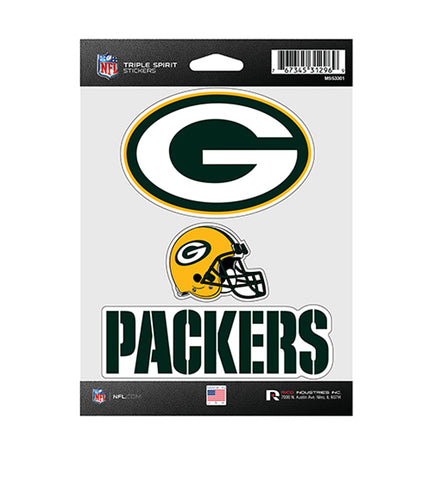 Green Bay Packers Sticker Triple Spirit Pack