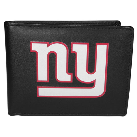New York Giants Mens Embroidered Leather Bi-fold Wallet