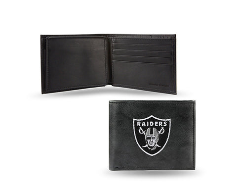 Oakland Raiders Mens Embroidered Leather Bi-fold Wallet