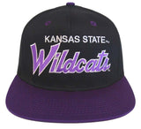 Kansas State Wildcats Snapback Retro Script Cap Hat Black Purple