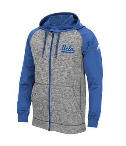 UCLA Bruins Mens Adidas Primary Logo Full Zip Hoodie Blue Grey